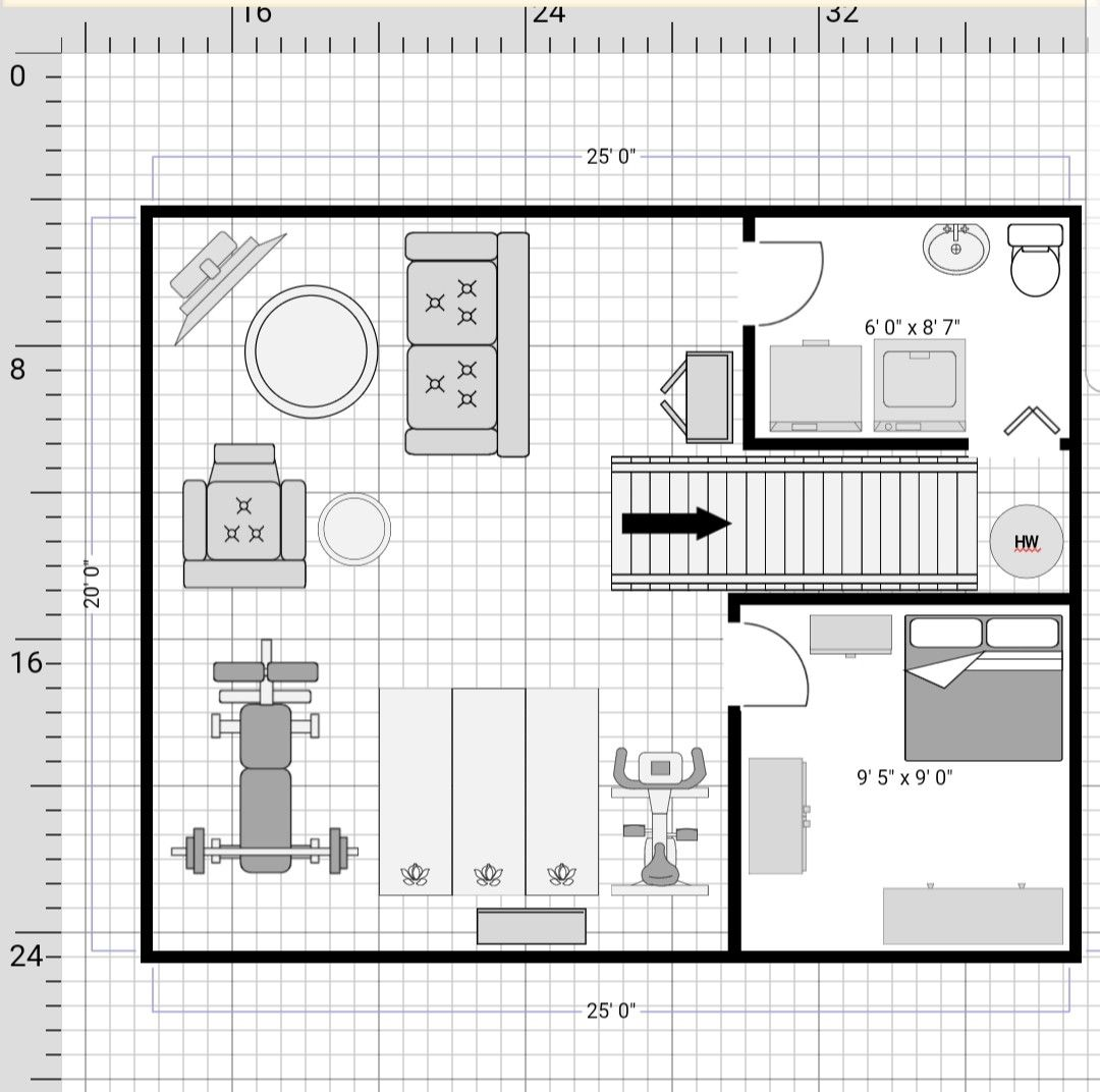 500 Sq Ft 25 X 20 Basement Floor Plan Basement Flooring Basement Floor Plans Basement Remodeling