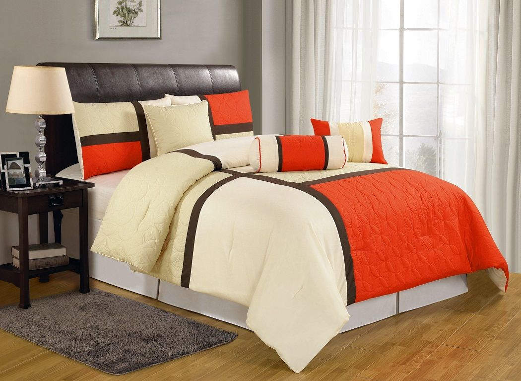 Brown and red bedding - 7pcs Orange Beige Brown Quilted Patchwork Bed In A Bag Comforter Set Queen