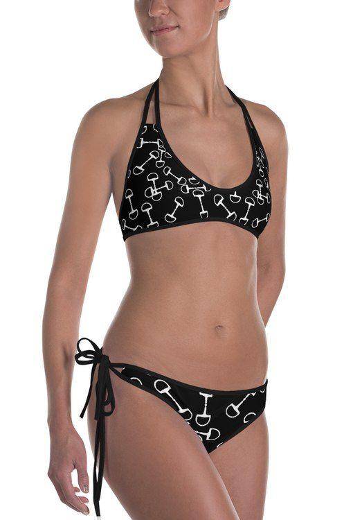 Black And White Horse Bits Equestrian Swim Suit Bikinis