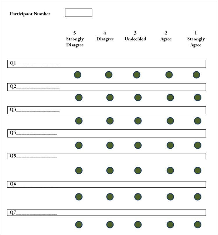 Sample Likert Scale Template  School Spirit    Scale