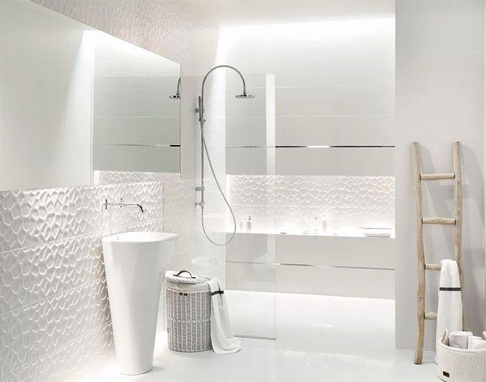 1001 mod les impressionnants de la salle de bain blanche - Accessoires salle de bain design inox ...