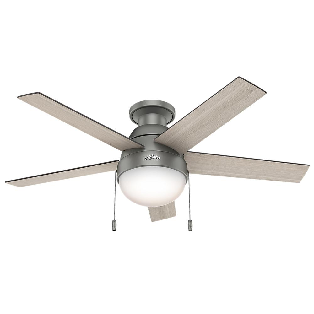 Hunter Anslee 46 In Indoor Low Profile Matte Silver Ceiling Fan With Light 59270 The Home Depot Silver Ceiling Fan Ceiling Fan Flush Mount Ceiling Fan