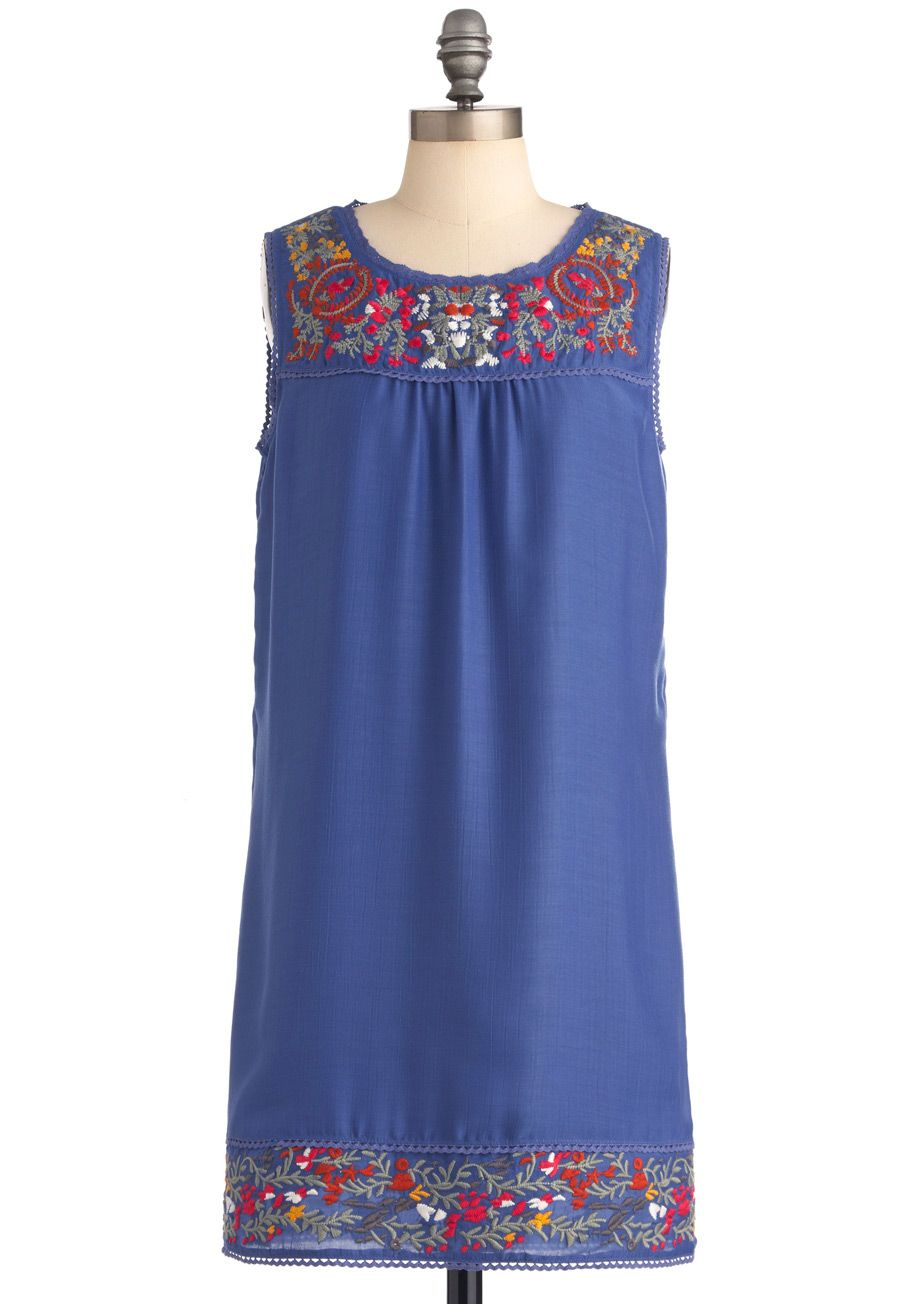 Paradigm shift dress short blue solid embroidery sheath
