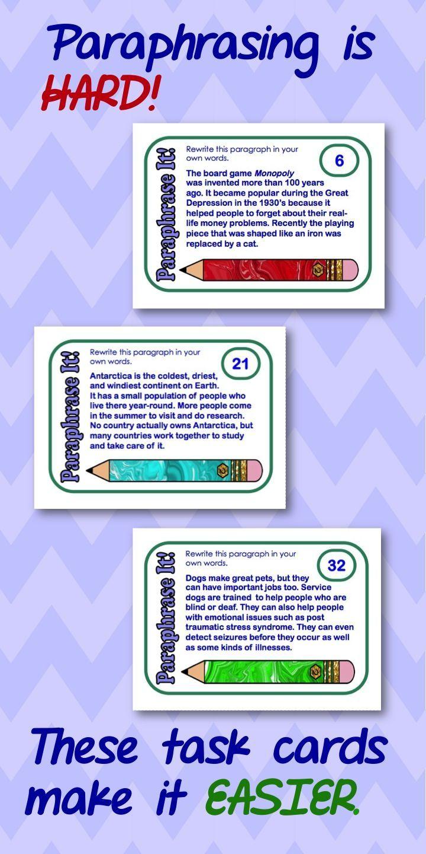 Paraphrasing Teaching Writing Classroom School Reading Literacy Standard