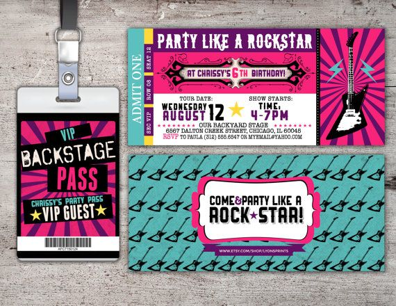 ROCK STAR concert ticket birthday party invitation Music – Concert Ticket Invitation Template