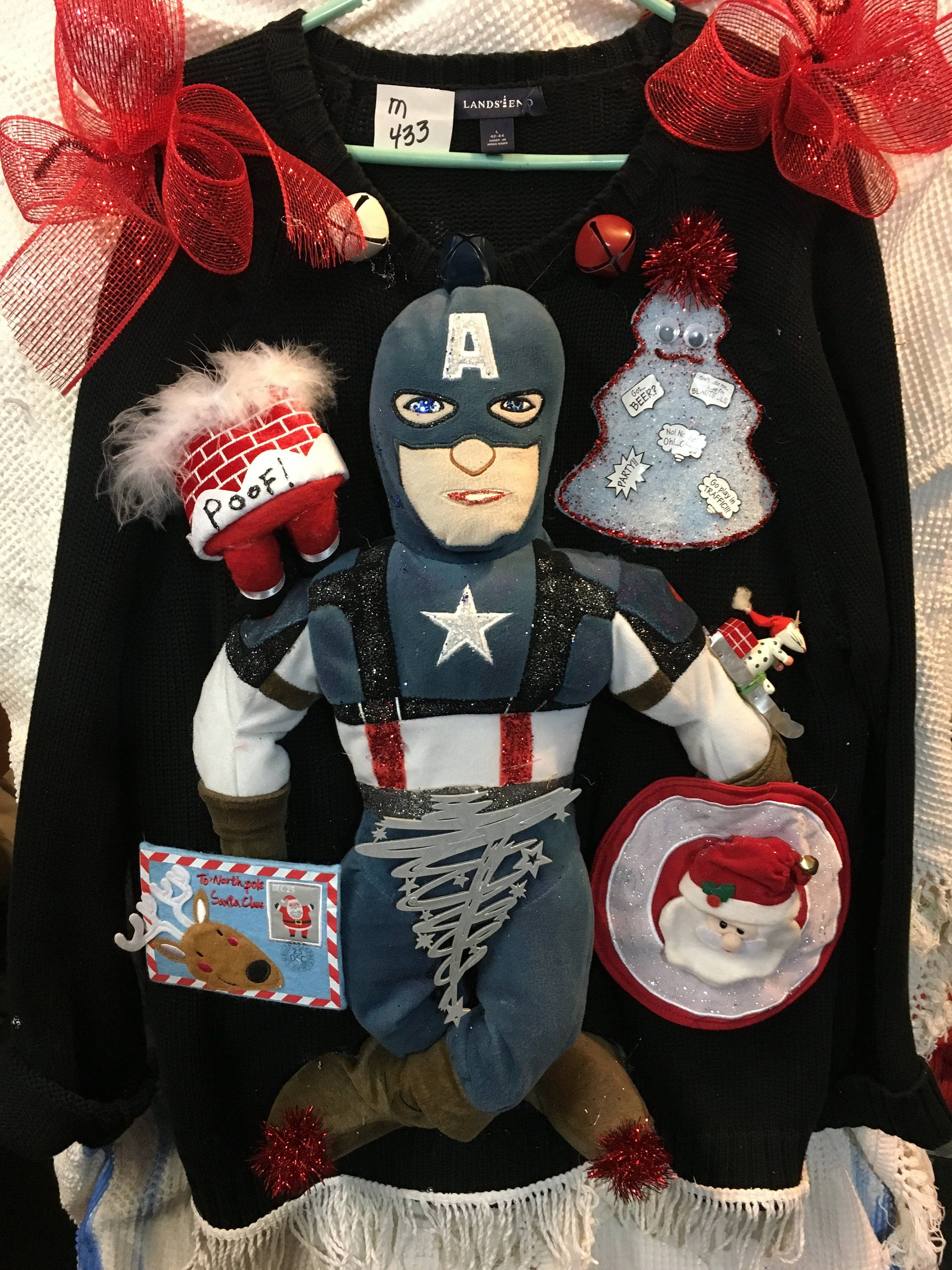Mans Large Captain America Ugly Christmas Sweater 433 Ugly