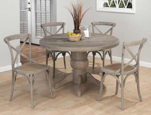 Weathered Driftwood Grey Dining Table X Back Chairs Distressed Wood Reclaimed Wood Jo Round Pedestal Dining Table Grey Round Dining Table Round Pedestal Dining