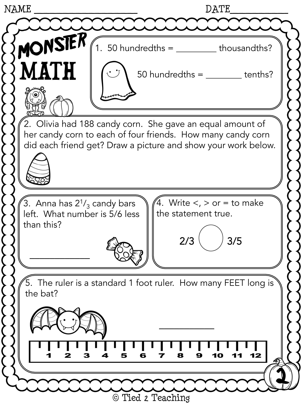 Halloween Math Printables Second Grade Halloween Math Printables Math Printables Halloween Math [ 3000 x 2250 Pixel ]