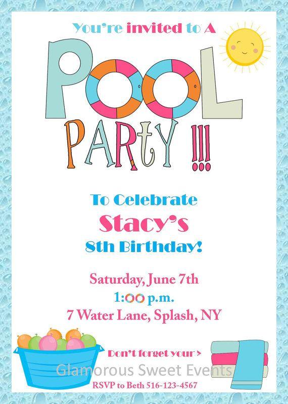 Pool Party Invitation - Birthday Invitation -Printable - GLAMOROUS - birthday invitation pool party