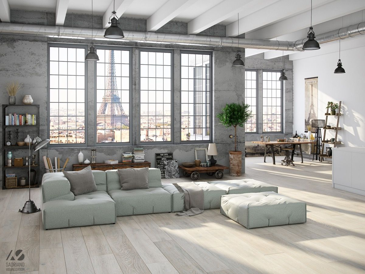Industrial Style For Living Room Design Apply with Concrete, Brick ...