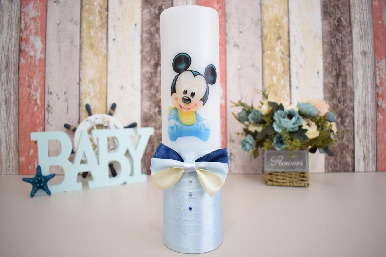 Lumanare De Botez Cu Bebe Mickey Mouse Este Realizata Manual Si