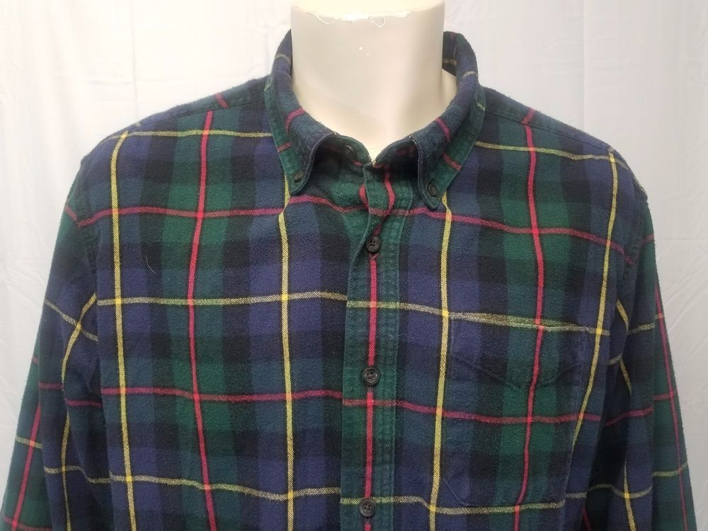 9310074b97f5 LL BEAN Traditional Fit Green Blue Red Yellow Plaid Flannel Shirt Cotton Mens  XL  LLBean  ButtonFront