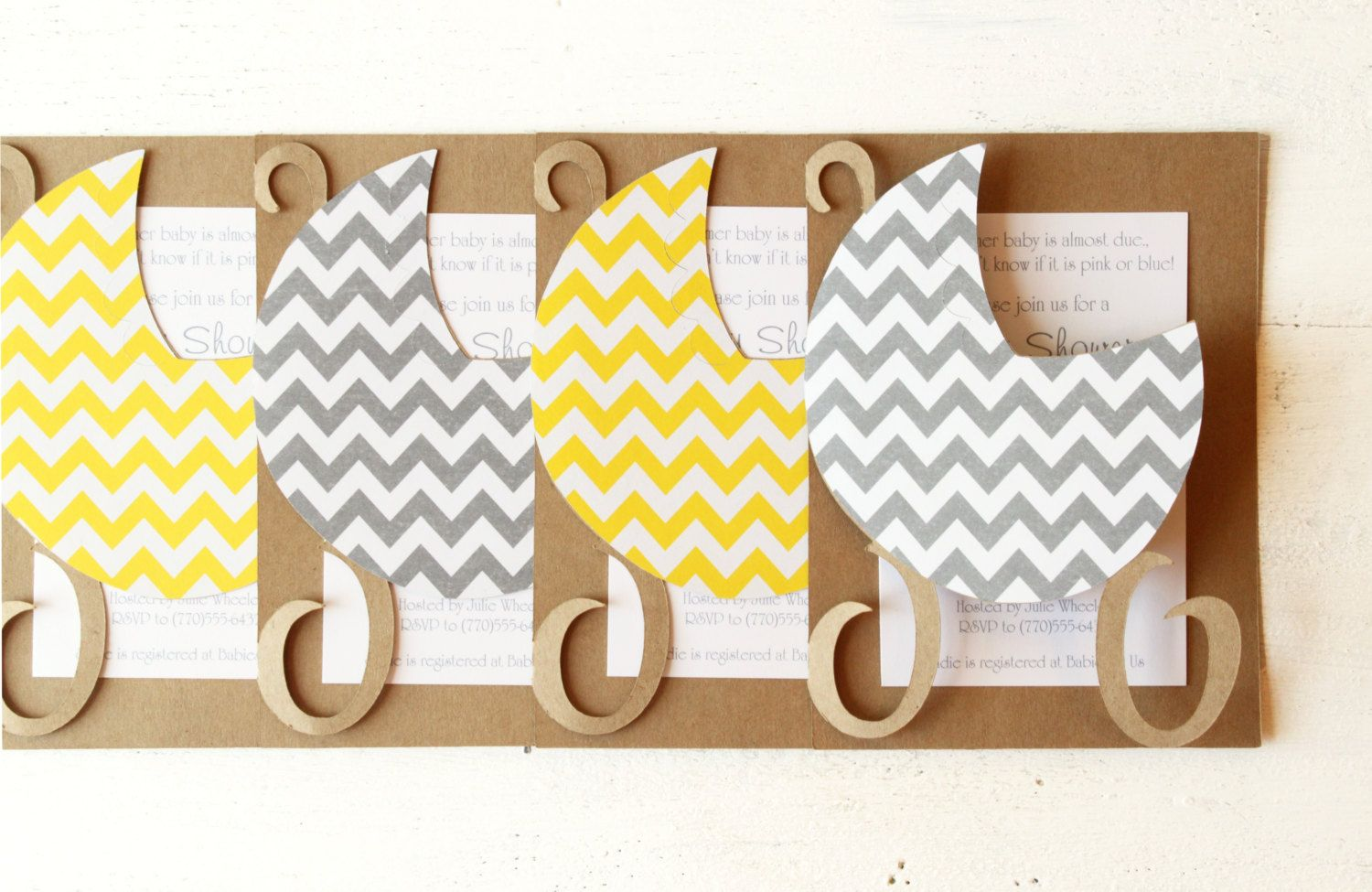 Gender Neutral Baby Shower Invitations Yellow by WhenItRainsShop