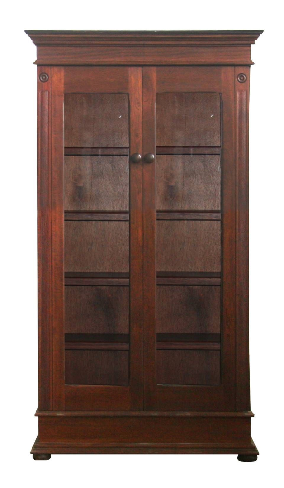 Lampung Tall Bookcase With Gl Doors Wetherlys