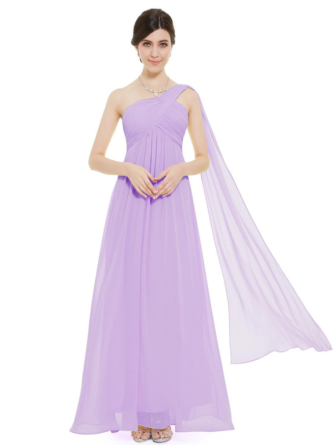 be4370b92e A-line One Shoulder Light Purple Ruffles Padded Long Bridesmaid Dress