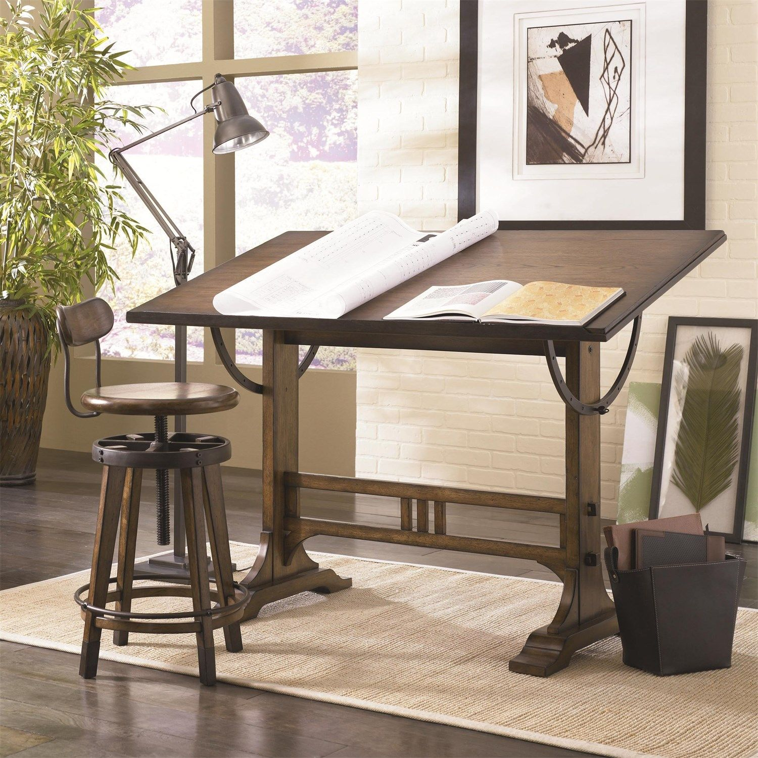 25 Awesome Rustic Home Office Designs: Hammary 166-940 Studio Home Architect Desk In Oak