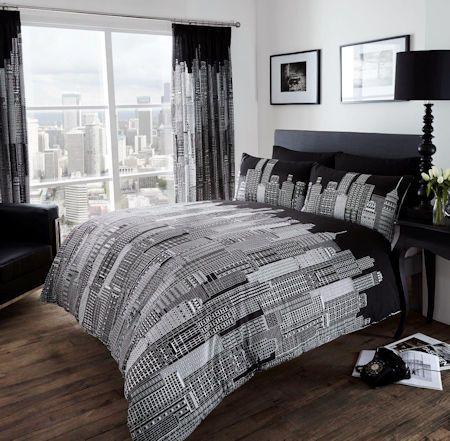 Modern Cityscape Skyline Black White Bedding Queen Or King Duvet