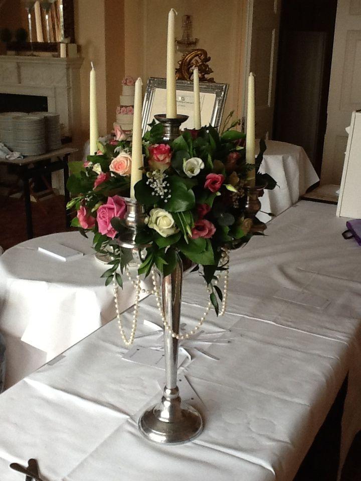 Vintage candlearbra flowers