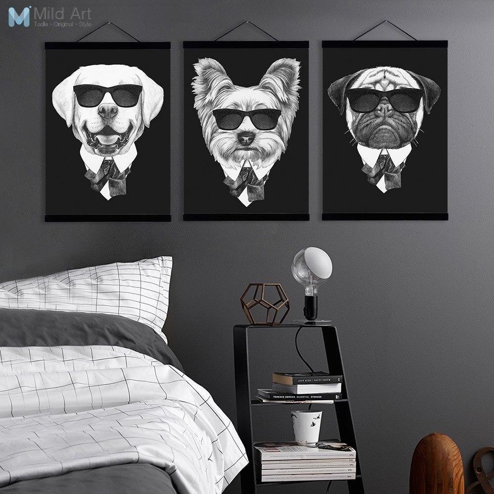 Black and white vintage posters fashion mafia dog wooden framed