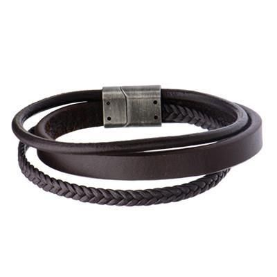 TRIPLE PLAY Brown Three Cord Multi-Design Mens Leather Bracelet