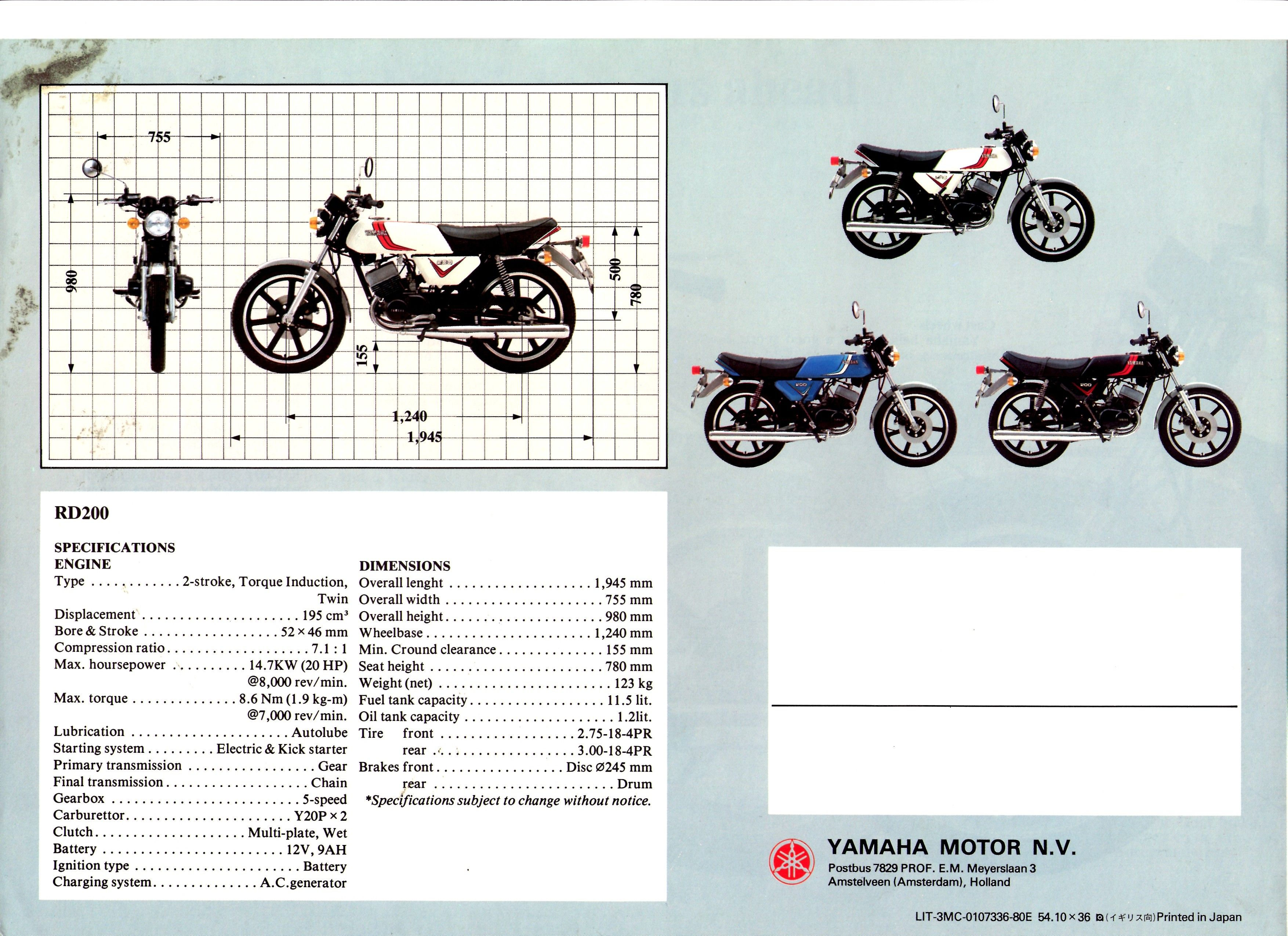 1980 Yamaha RD200 Specs 1 | My Motorcycle Pic Review | Motorcycle