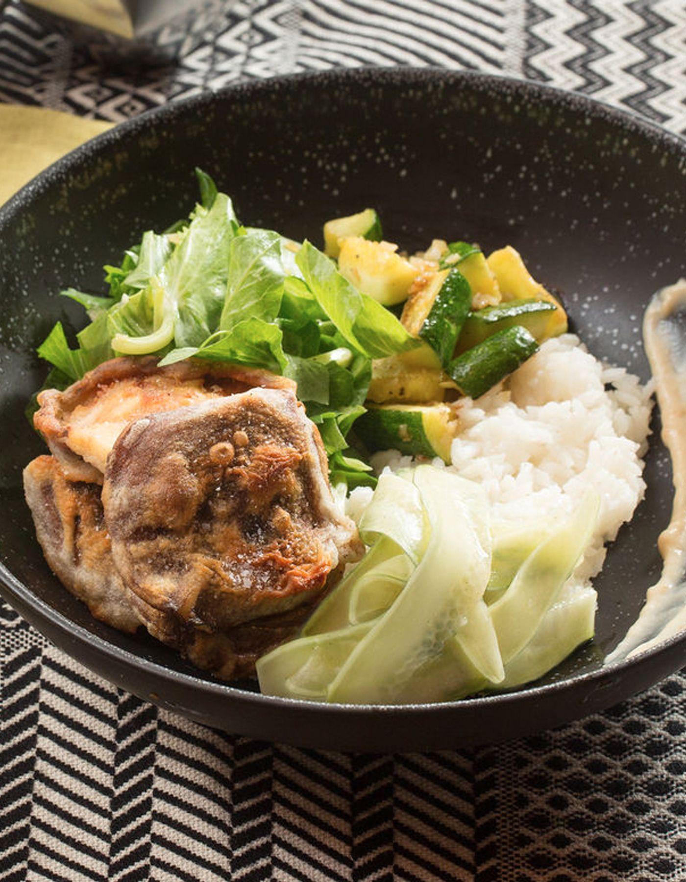Blue apron tempura cod - Japanese Rice Bowl Mushroom Tempura With Zucchini Marinated Cucumber
