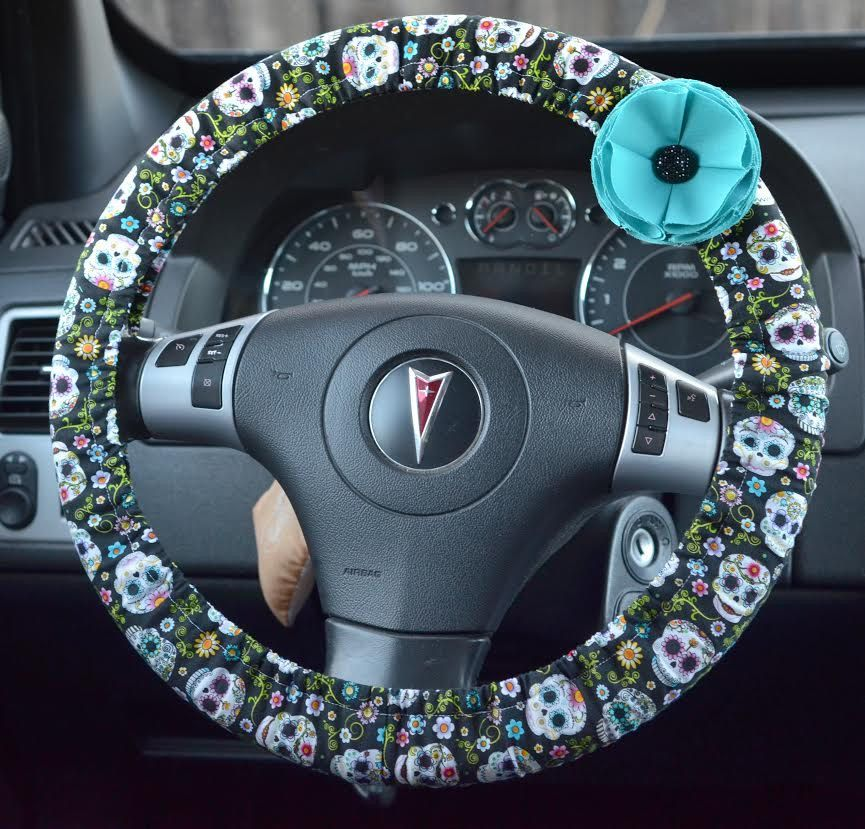 Colorful Candy Skulls Padded Steering Wheel Cover Car Decor Cute Accessories By Fireflycreations42 On Etsy