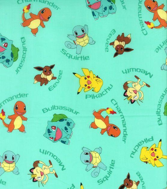 Pokemon Character Aqua Cotton Fabric