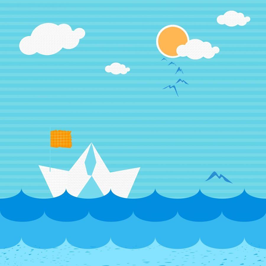 الأزرق البحر الكرتون الخلفية Kartun Latar Belakang Kertas Dinding