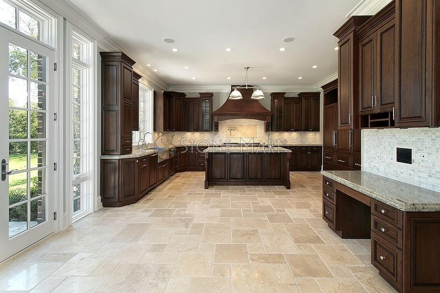 Walnut Kitchen Flooring Ideas Part - 40: Kitchen With Dark Floor Tile Ideas, Contemporary Kitchen With Gray Granite  Countertops