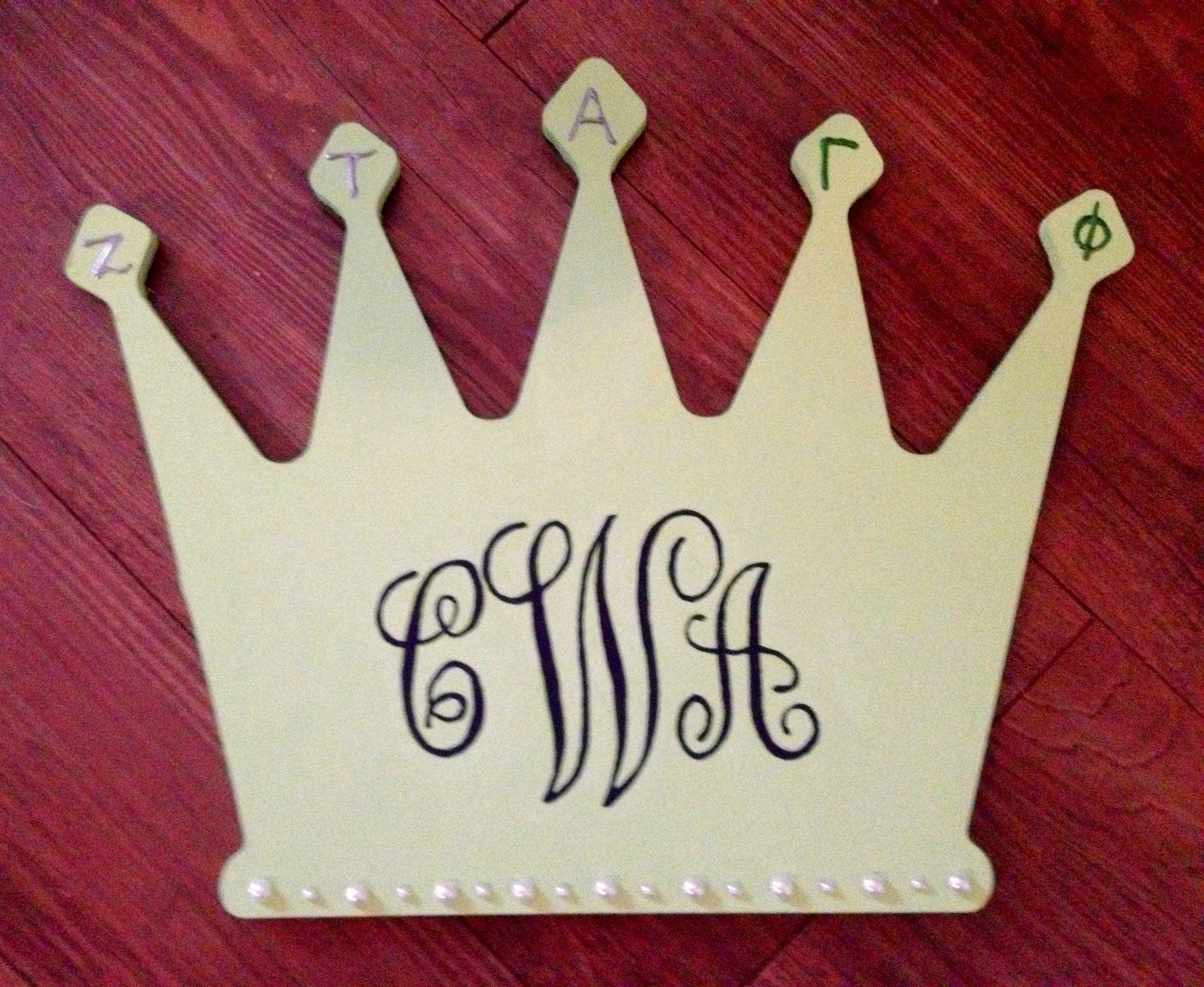 Monogrammed crowns  ZTA, Gamma Phi - UNT