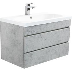 Photo of Talis 80 bathroom furniture in concrete with emotionEmotion handle-free drawers