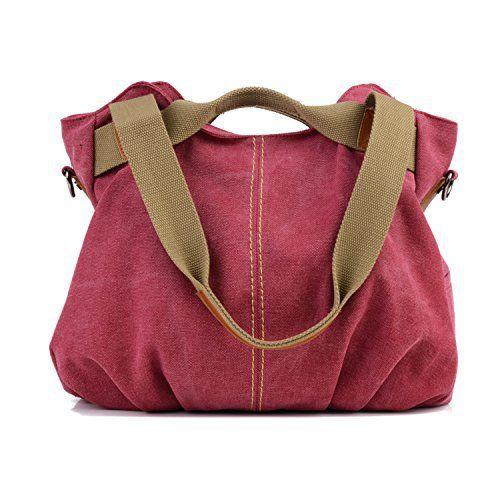 7a815408222 Losmile Women s Vintage Canvas Shopper Totes Top Handle handbag Cross body Shoulder  Bag Leisure Hobo Bags (Red)