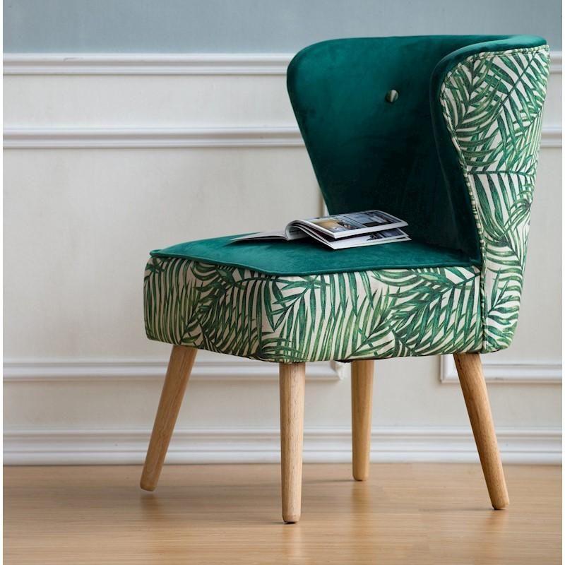 Armless wing chair in palm leaf print diannalynn decor