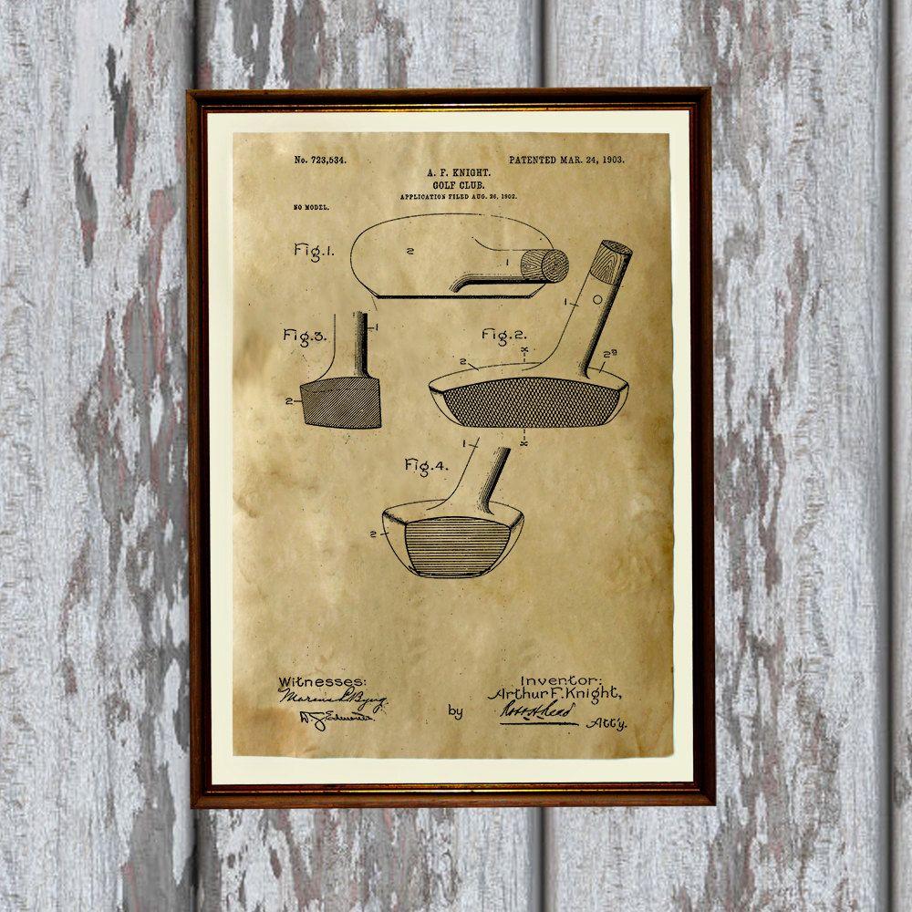 Club de golf de impresión. Arte patentes imprimir - decoración ...
