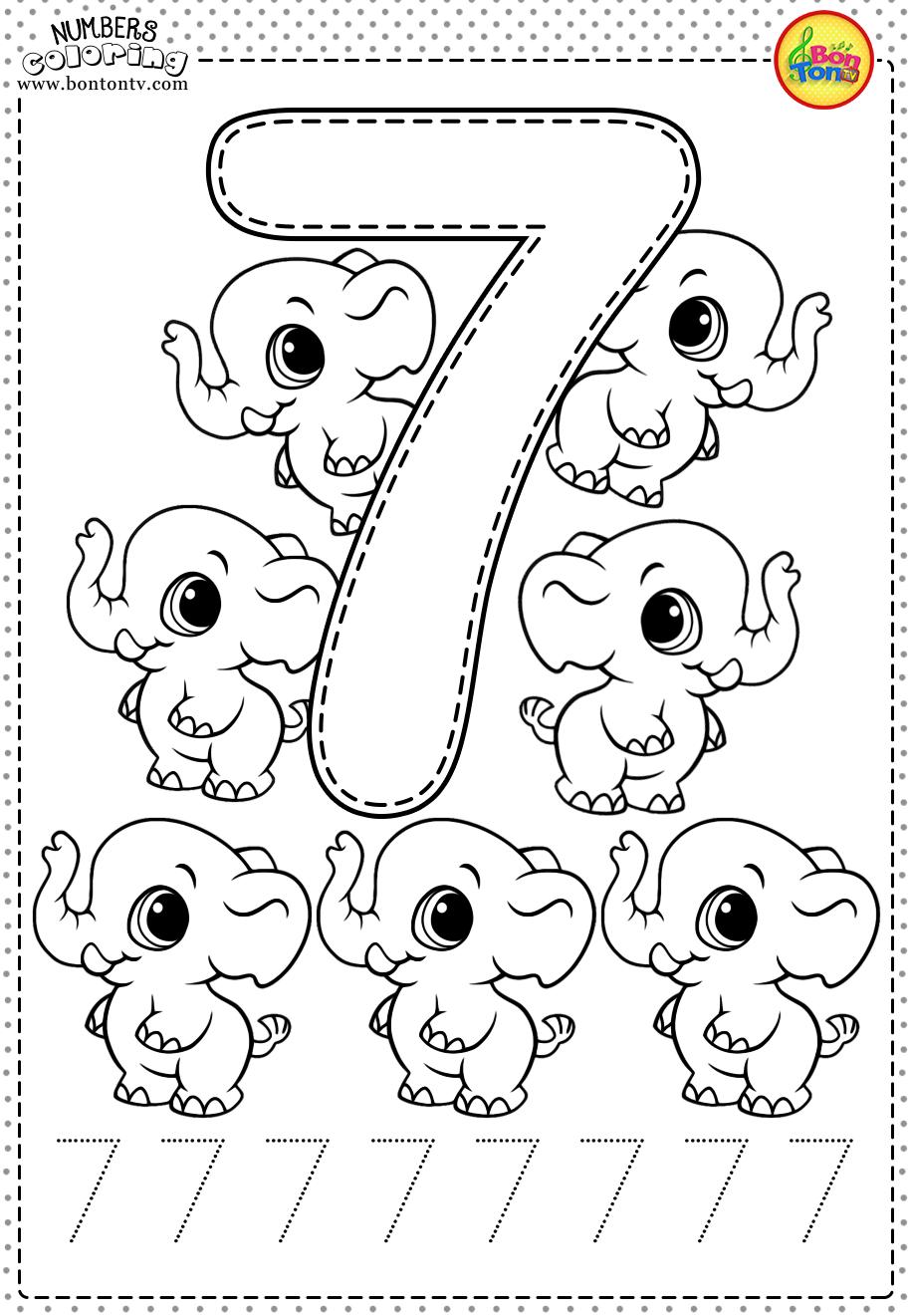 Number 7 Preschool Printables Free Worksheets And Coloring Pages For Kids Learning N Okul Oncesi Calisma Cizelgeleri Anaokulu Matematigi Cocuklari Buyutme