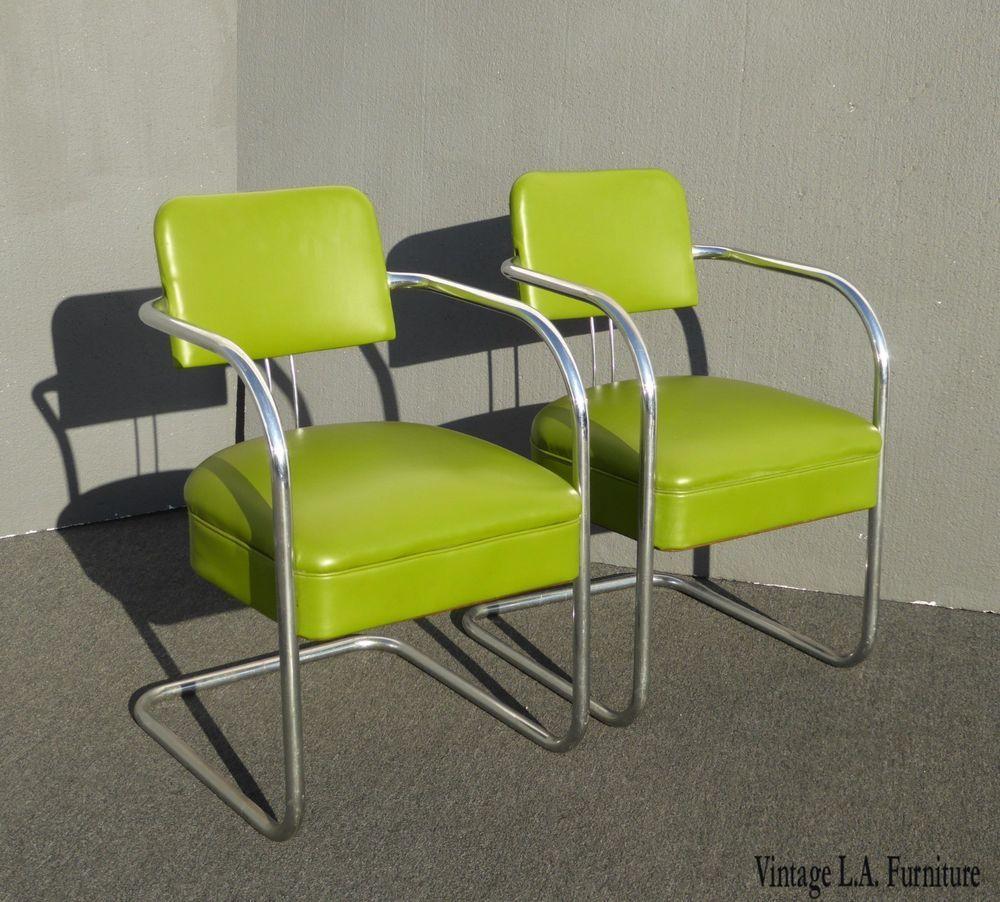 Pair of Vintage Mid Century Modern Lime Green Chrome
