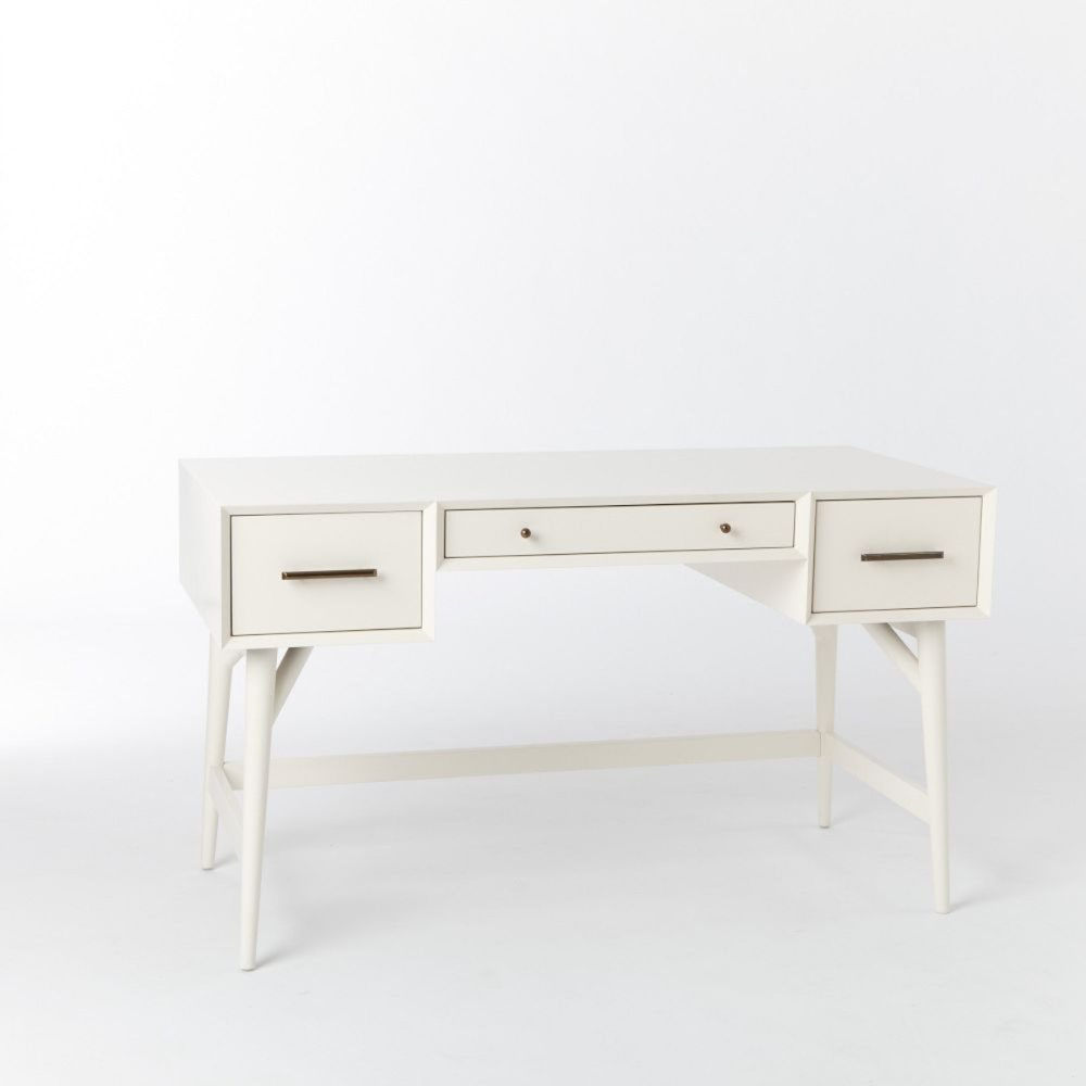 Mid Century Desk White West Elm Canada In 2020 Mid Century Desk Mid Century Desk White White Desks