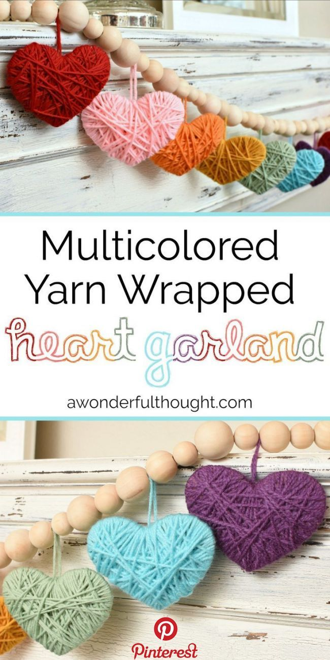 Multicolored Yarn Heart Garland   This adorable DIY multicolored yarn heart garland is perfect to use for your Valentine's Day decor! It would also be great in a baby or little girl's room all year round!