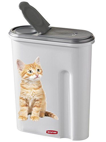 Curver Dry Cat Food Container 15 Kg Or 45l Silver White Cat Motif