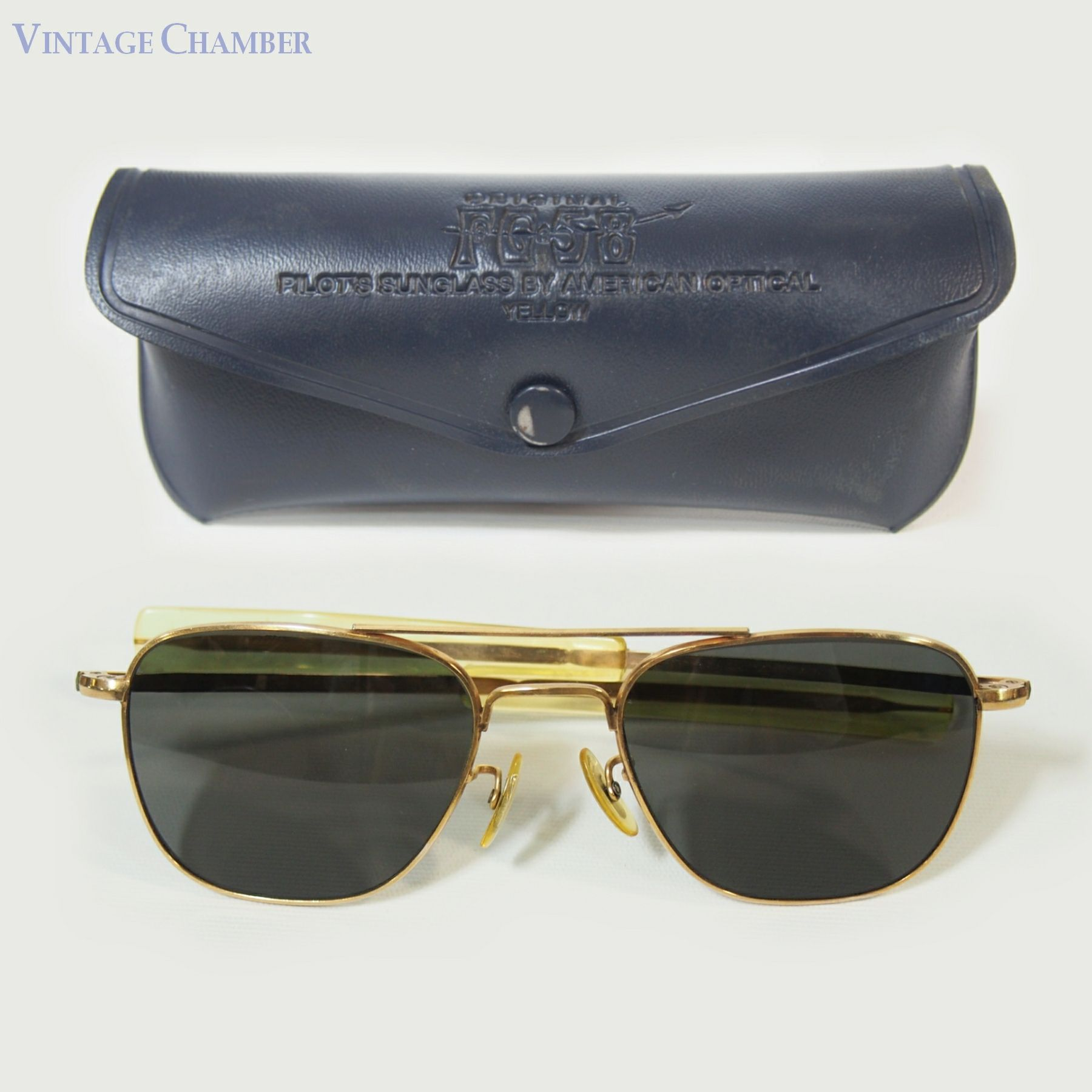 bd8255afcc4 Vintage Vietnam War Era American Optical AO Gold Filled Aviator Sunglasses
