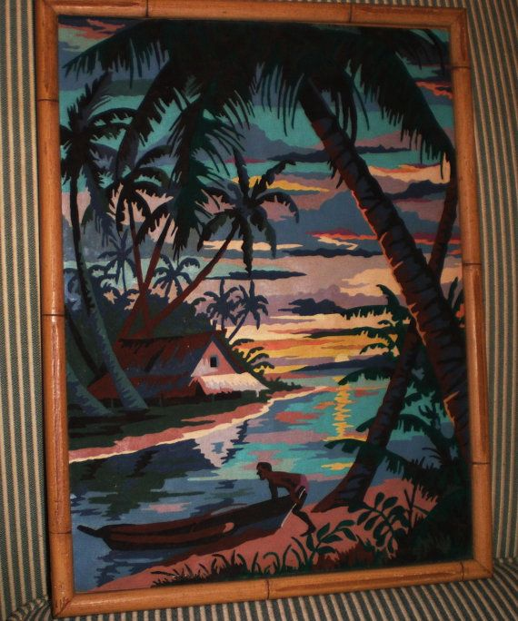 Vintage Paint by Number Tropical Island by AnnesAccumulations....I have one just like this and love it!!