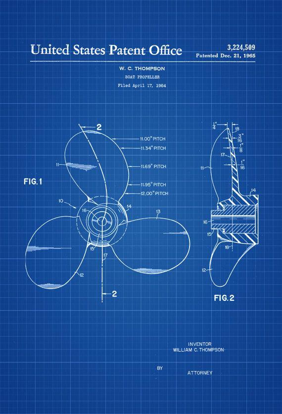 Boat Propeller Patent - Vintage Propeller, Propeller Blueprint - copy coffee grinder blueprint