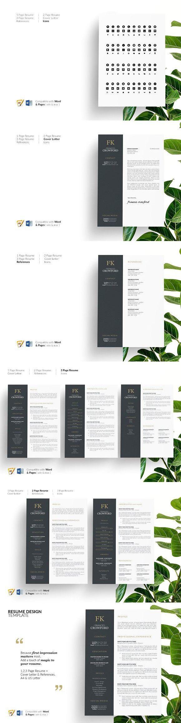 CV Design. CV Template. Resume Cv template, Cv design