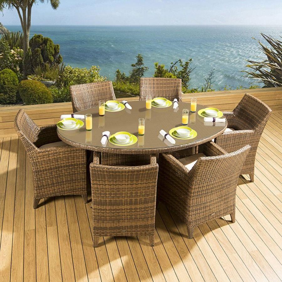Luxury Outdoor Rattan Garden Dining Set Oval Table 6 Huge ...