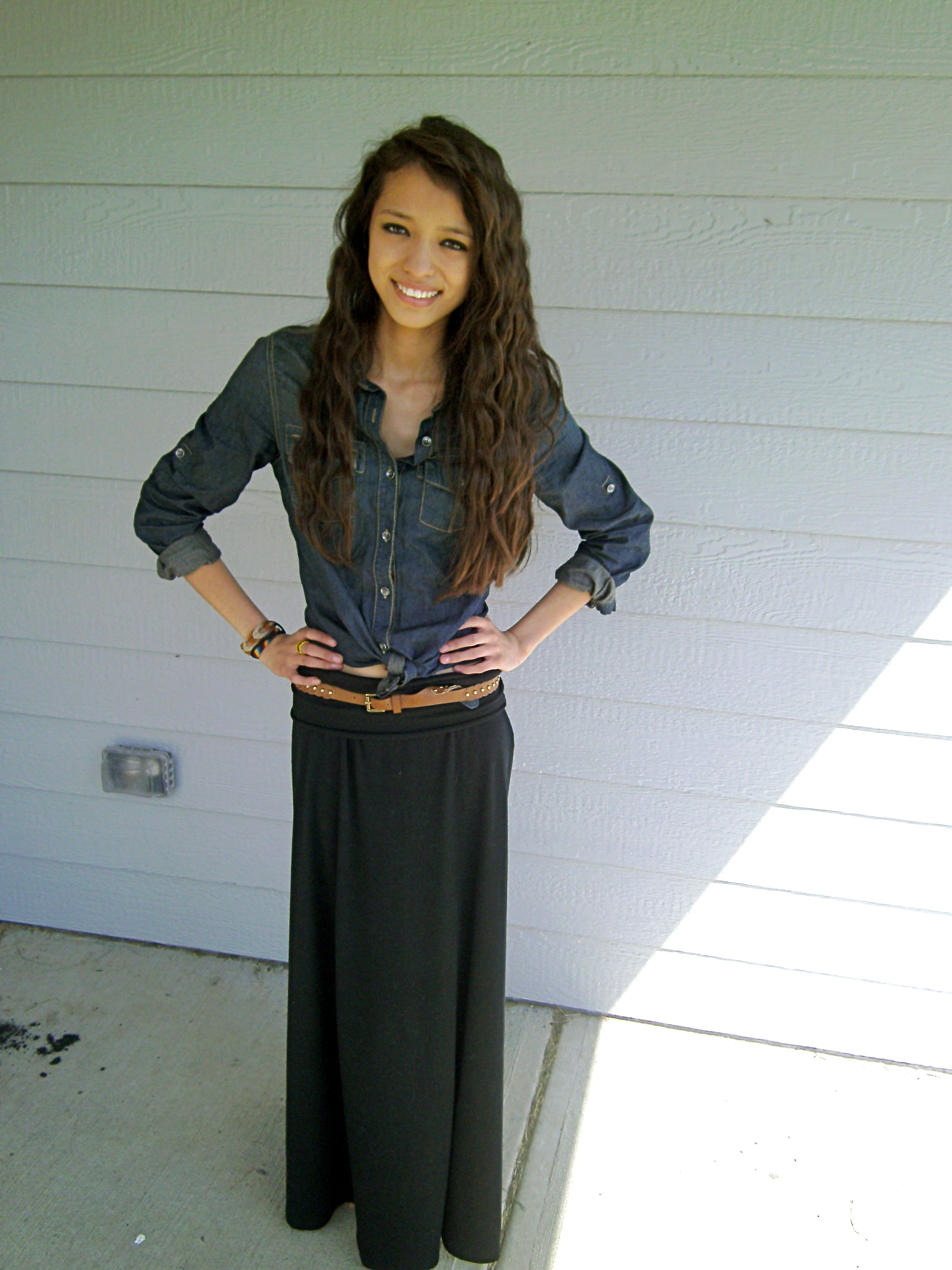 black maxi skirt with a denim shirt my style