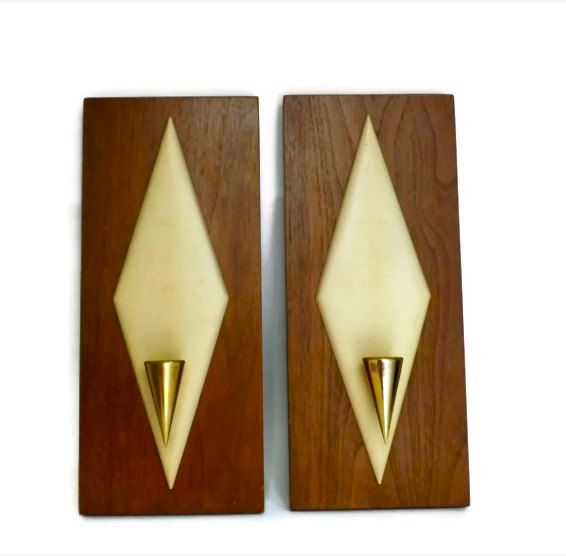 Vintage Eames Era Mid Century Wooden Diamond Wall Hanging Candle ...