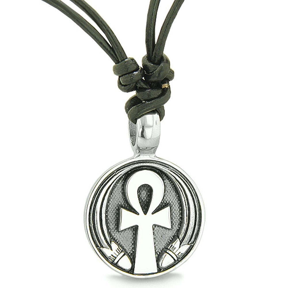 Amulet Ankh Egyptian Power of Life Lucky Charm Medallion Leather Cord Pendant Necklace