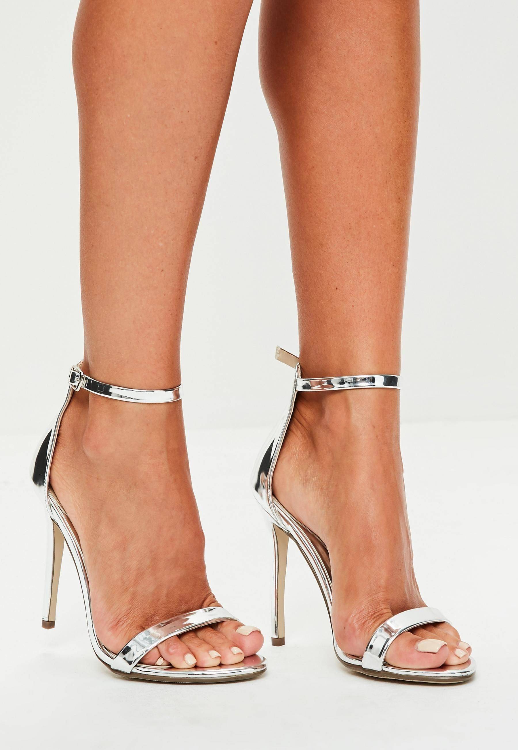 7ea843ff8685 Silver Two Strap Barely There Heels