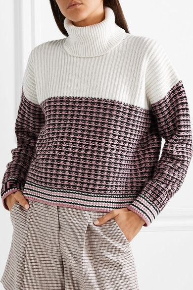 Fendi Paneled wool and cashmere blend turtleneck sweater